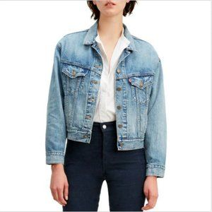 LEVI'S SLOUCHY CROPPED TRUCKER DENIM JEAN JACKET